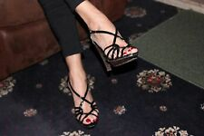 Evie sexy formal occasion high heel shoes 5 black strappy shoe brown heel