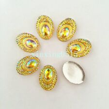 DIY 20PCS 13mm*18mm AB Resin oval Rhinestone Flatback Scrapbooking for phone D62