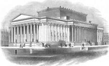LANCS. St George's Hall, Liverpool, antique print, 1845