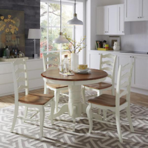 HOMESTYLES Dining Table 42 in. x 30 in. Easy Assemble Heavily Rubbed White