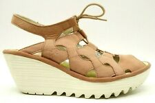 Fly London Pink Leather Wedge Heel Lace Up Slingback Sandals Womens 39 / 8 - 8.5