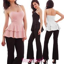 Overall donna tuta intera elegante balze peplum pantaloni sexy nuova WD-8658