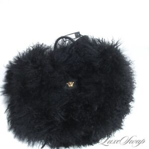 NWT €2970 Versace Made in Italy Black Runway Mongolian Lamb Fur Medusa Backpack