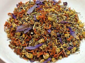 SUPER CALM Organic Herbal Blend Damiana Blue Lotus Wild Dagga Lavender, tea bath