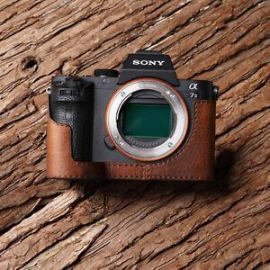 Genuine Leather Half Camera Case Bag Bottom Cover Holder For Sony A7RII A7II