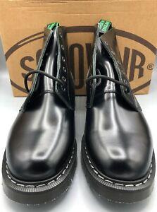 SOLOVAIR Black Hi-Shine 6 Eye Derby Boot, UK:8, EU:42, US:9, NEW WITH BOX