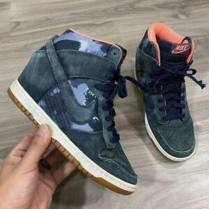 Nike Dunk Sky Hi Wedge Sneaker Womens Size 8 Armory Navy Blue Camo 543258-401
