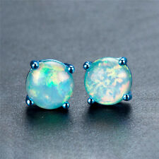 Cute Elegant Round Fire Opal Blue Gold Filled Ear Studs Wedding Jewelry 1 Pair