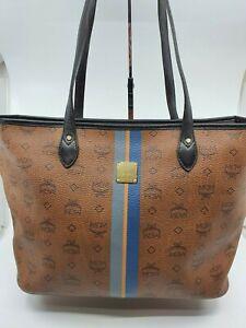 AUTHENTIC MCM Visetos Brown  Cognac  Shopper Shoulder  Bag
