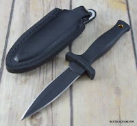 6.75 INCH SCHRADE SMALL FIXED BLADE BOOT KNIFE DOUBLE EDGE WITH LEATHER SHEATH
