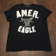 American Eagle Outfitters Logo Short Sleeve Blue graphic T Shirt Top Size XL