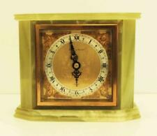 GREEN ONYX MARBLE 8 DAY ELLIOTT MANTLE CLOCK RETAILED BY MAPPIN AND WEBB