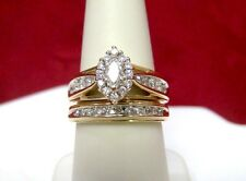 14K YELLOW GOLD 1.35CTW DIAMOND WEDDING MARQUISE ENGAGEMENT KEEPSAKE RING SET