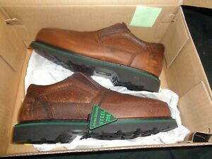 John Deere JD7325 Brown Leather No Slip Steel Toe Work Loafers Mens US 6.5M Shoe