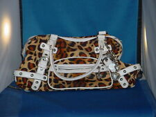 KATHY VAN ZEELAND Leopard Print Nylon with white leather trim Handbag / Purse