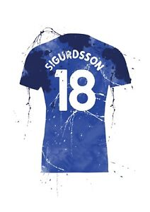 Gylfi Sigurdsson - Everton Football Shirt Art - Splash Effect - A4 Size