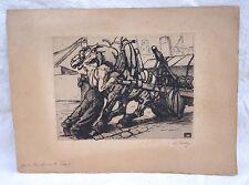 MARCEL FALTER Pour les Amis du Trait Cheval Attelage Travail Eau Forte 1914
