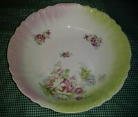 Victorian Porcelain 10 Vegetable Bowl Pastel Pink Green Floral Bouquets Embossed