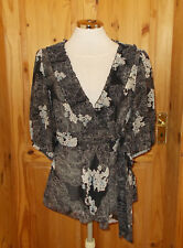 MISS SELFRIDGE black blue ivory floral chiffon short sleeve wrap tunic top 12 40