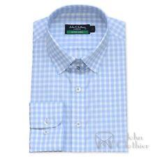 New Tab collar Mens Cotton shirts Sky Blue checks Loop James Bond collar Gents