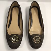 Michael Kors Fulton Moccasin Brown MK Print Womens Size 9.5