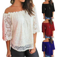 Women Ladies Off Shoulder Lace Short Sleeve Boat Neck Casual T-shirt Tops Blouse