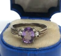 Vintage Sterling Silver Ring 925 Size 8 Band CZ Amethyst