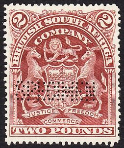 Rhodesia 1908 £2 PERFORATED SPECIMEN (SAMUEL R5) SG91s VF NO GUM -NEVER HINGED-4