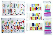 Set of 9 Party Decor, Happy Birthday Party - 5 Gel Clings, 4 Wall Decals