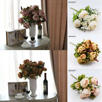 Artificial Silk Flowers Vivid Peony Fake Leaf Bouquet Wedding Home Party Decor
