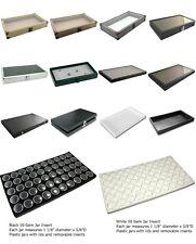 50 Gem Jar Case Trays White Black Jars Display Storage Collectible Coins Nuggets