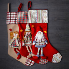 "3-Piece Set Handcrafted 3D 18"" Xmas Decor Stocking Holder Girls and Santa Combo"