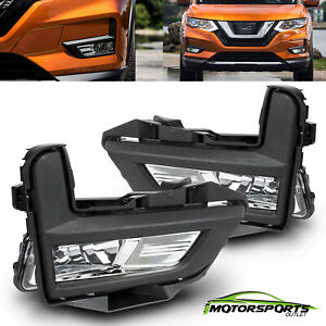Fit 2017 2018 Nissan Rogue S SL SV Driving Bumper Fog Lights w/Bracket Pair