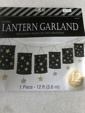 Paper Lantern Garland Black With Silver And Gold Stars Includes 6 Lanterns 12ft