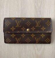Louis Vuitton Sarah Monogram Leather Vintage Brown Flap Long Zip Wallet Purse