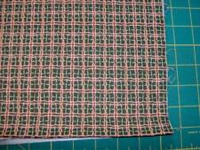 """wavy brown squares with red borders 100% cotton - last 1/2 yd x 44"""""""
