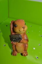 Bunny Stake Sitter Yard Statue for Flower Pot Garden Figure w/ Welcome Sign #39