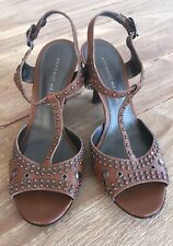 Antonio Melani  DIVA Brown Leather Studded T-Strap Slingback Open Toe Heels 6.5M