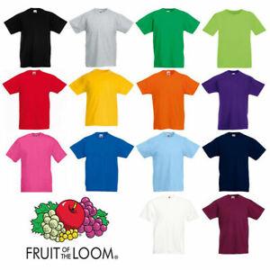 Kids Boys Girls T-Shirt Childrens School Plain t Tee Fruit of the loom sport pe