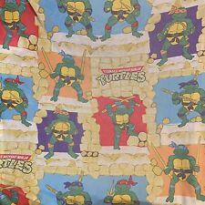 Vintage TEENAGE MUTANT NINJA TURTLES Twin Fitted Sheet 1988 TMNT Mirage Studios