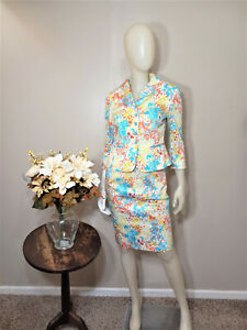 TAHARI ASL PETITE Print 3/4 Sleeves Skirt Suit-Size 6P