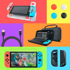 Nintendo Switch Starter Kit: Carry Case+TEMPERED GALSS+Clear Cover+Grips+USB for