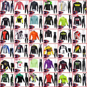 2021 Winter Mens Cycling Thermal Fleece Jersey Bib Pants Set Racing Bike Outfits