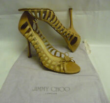 JIMMY CHOO Pumps Size 40 10 Beige Stiletto Strappy  Bow Open Toe Leather Italy