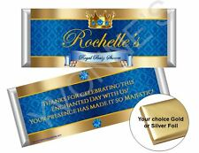 Royal Baby Prince Boy Candy Bar Wrappers/Blue and Gold-Baby Shower/New Baby 12ct