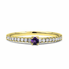9 Carat Engagement Amethyst Yellow Gold Fine Rings