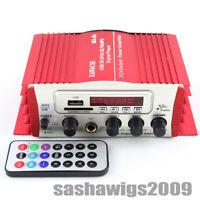 Red USB SD FM MP3 Digital Player 2CH Car Power Amplifier + Remote Control