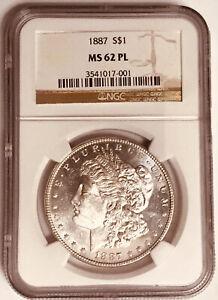 1887 Morgan Silver Dollar, NGC MS62 PL