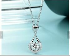 """925 Sterling Silver Moissanite Heart Pendant 6.5MM Stone Necklace 18"""", Jewelry"""