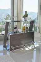 Modern 2-Shelf Bar Unit Game Room Pub Bar TableWith Footrest Dark Oak